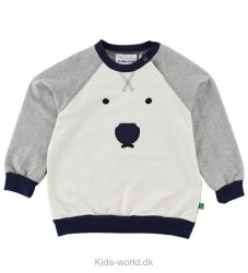 Freds World Sweatshirt - Gråmeleret/Navy m. Isbjørn