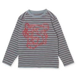 Friends langærmet t-shirt - Stribet med rød tiger