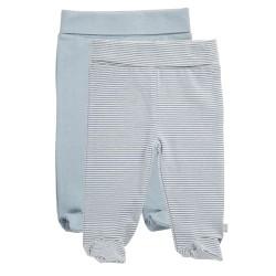 Friends leggings med fødder - Gråstribet/lyseblå - 2 stk.