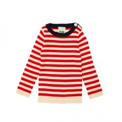 FUB Baby Striped Rib Blouse Ecru/Red SS19