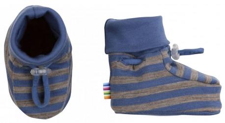 Futter i blå/brun stribet uld-bomuld