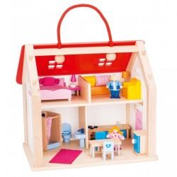 Goki Suitcase Doll's house med tilbehør