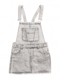 Grey Denim Pinafore Dress