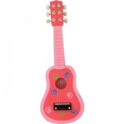 Guitar til børn m. 6 strenge - Pink