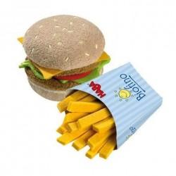 Haba legemad hamburger og pomfritter