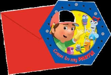 Handy Manny - Invitationer & kuvert - 6 stk.