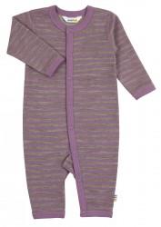 Heldragt i lilla/brun stribet uld-bomuld