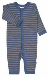 Heldragt med knapåbning i blå/brun stribet uld-bomuld