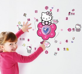 Hello Kitty Wallstickers med Ur