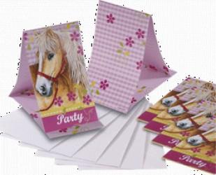 Heste - Invitation & kuvert - 6 stk.