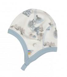 Hjelm i hvid og støvet blå uld og økologisk bambus