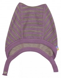 Hjelm i lilla/brun stribet uld-bomuld