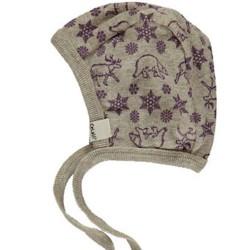 Hjelm i uld fra Celavi - Norsk print - Purple