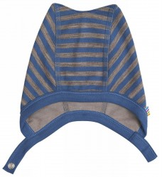 Hjelm med knapper i blå/brun stribet uld-bomuld