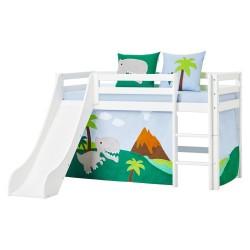 Hoppekids halvhøj seng med rutsjebane - Basic - Dinosaur