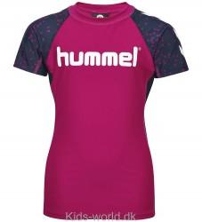 Hummel Badebluse - Oyster - UV50 - Navy/Pink m. Dråber