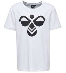 Hummel T-shirt - Palm - Hvid m. Sort Logo