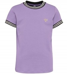 Hummel T-shirt - Victoria - Lilla m. Stribe