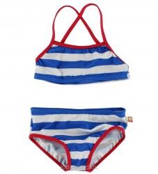 Katvig Classics Bikini - UV50 - Blå/Hvidstribet m. Rød