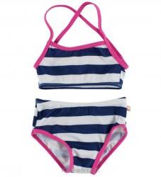 Katvig Classics Bikini - UV50 - Navy/Hvidstribet m. Pink Kant