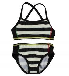 Katvig Classics Bikini - UV60 - Sort/Hvidstribet