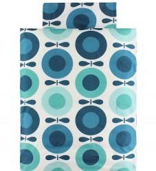 Katvig Classics Sengetøj - Junior - Hvid m. Petroleumsblå Æbler