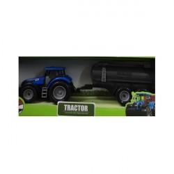 Kids Globe Blå Traktor med vandtrailer 40 cm lang 1:32