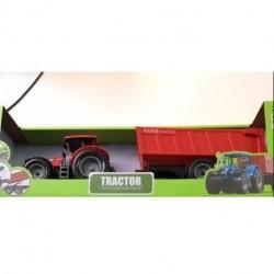 Kids Globe Rød Traktor med Rød trailer 40 cm lang 1:32