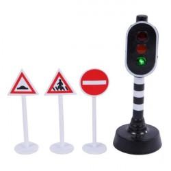 Kids Globe Trafiklys og 3 skilte med LYS og LYD batterier inkluderet
