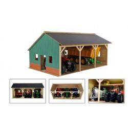 Kids Globe Traktor Garage med plads til 3 traktorer 1:16