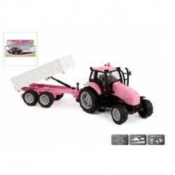 Kids Globe traktor med trailer pink 30 cm lang