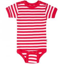 Kortærmet body fra Joha - Happy Stripe - Rød