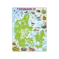 Lærerigt puslespil Danmarkskort 66 brikker fra Larsen Puslespil