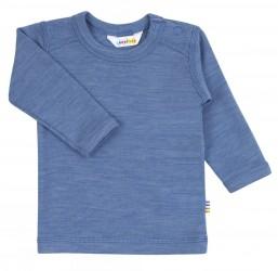 Langærmet bluse i uld og støvet blå
