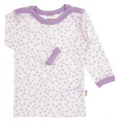 Langærmet bluse til babypiger i lilla og hvid uld-silke