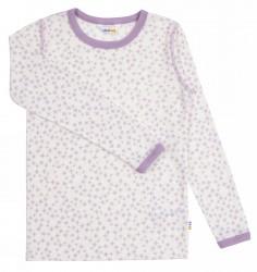 Langærmet bluse til større piger i lilla og hvid uld-silke