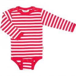 Langærmet body fra Joha - Happy Stripe - Rød