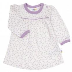 Langærmet kjole i lilla og hvid uld-silke