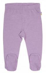 Leggings med fod til piger i lilla uld-silke