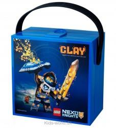 Lego Storage Madkasse - Nexo Knights - Blå m. Clay