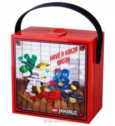 Lego Storage Madkasse - Ninjago - Rød m. Ninjaer