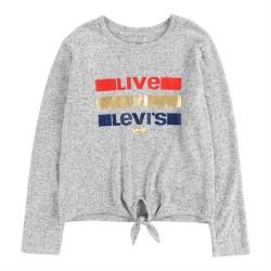 Levi's Tie Front Bluse - Light Grat Heather