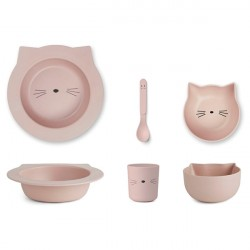 Liewood Bambus Baby Spisesæt - Cat Rose
