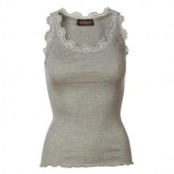 Light grey melange Silk Top - 5405-008 fra Rosemunde