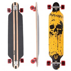 Longboard 41 ''DROP TROUGH RACE'' Skateboard m/LED Lys, DRIPPING SCULL
