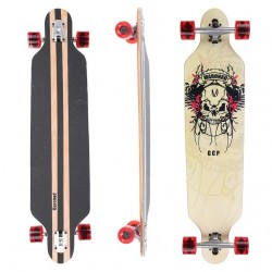 Longboard 41 ''DROP TROUGH RACE'' Skateboard m/LED Lys, SCULL