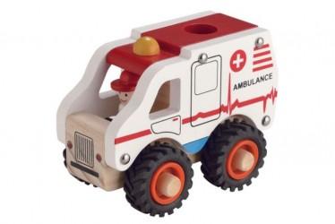 Magni Ambulance I Træ Med Gummihjul