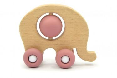Magni Elefant i træ og med hjul af silikone - Pink