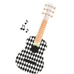 Magni guitar med 6 strenge - Sort/hvid