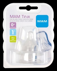 MAM 2-Pak Flaskesut Teat, Størrelse 1